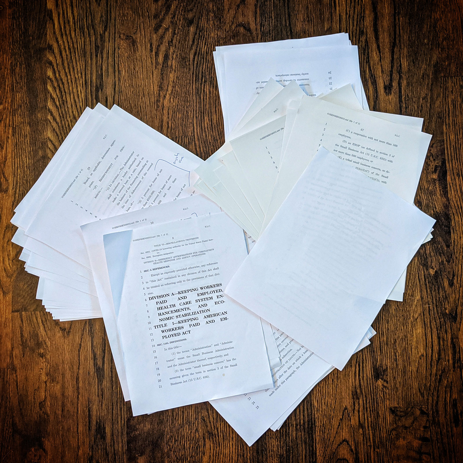 A photo depicting documents used to file for a small business loan during the 2020 COVID-19 pandemic, taken in Atlanta, GA.