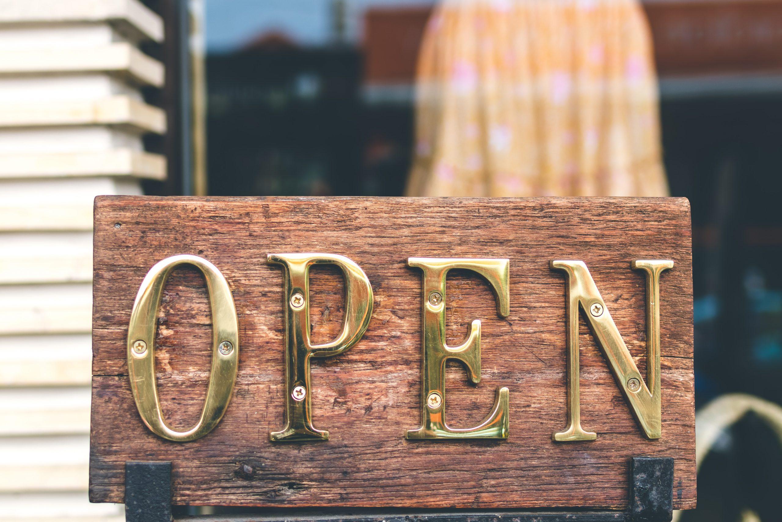 Brass Open sign